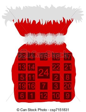 Clipart advent calendar clip download Vector Clip Art of Red St Nicholas bag with Advent calendar ... clip download
