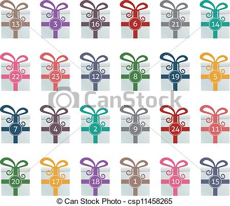 Clipart advent calendar svg library stock Clip Art Vector of colorful gift boxes advent calendar blue ... svg library stock