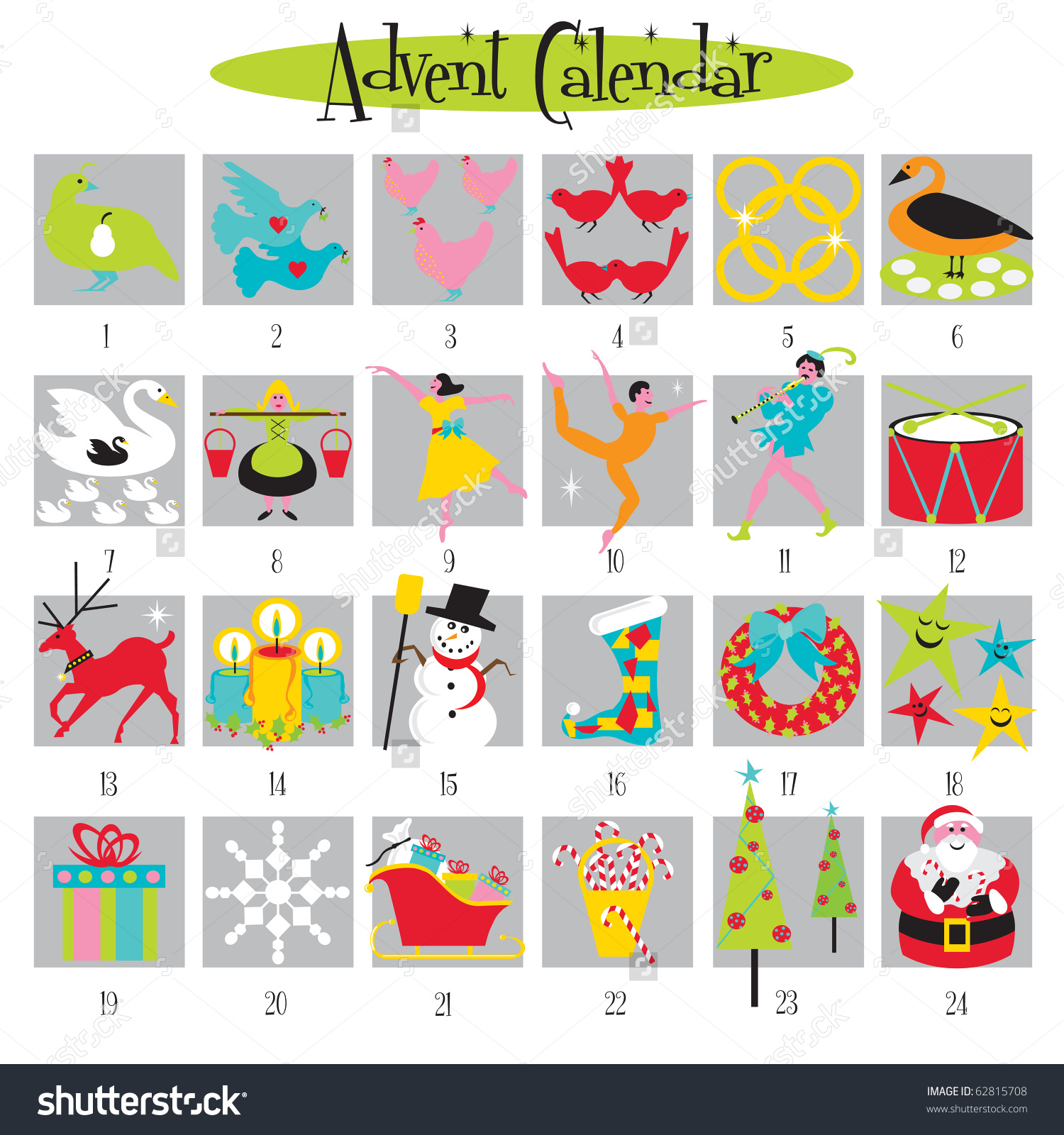 Clipart advent calendar png stock 12 Days Of Christmas And Advent Calendar Stock Vector Illustration ... png stock