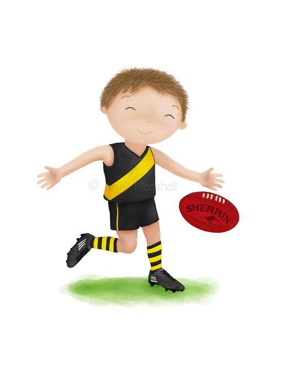 Clipart afl players clip art free download AFL Print - Australian Football Childrens Art - AFL - Football Gift ... clip art free download