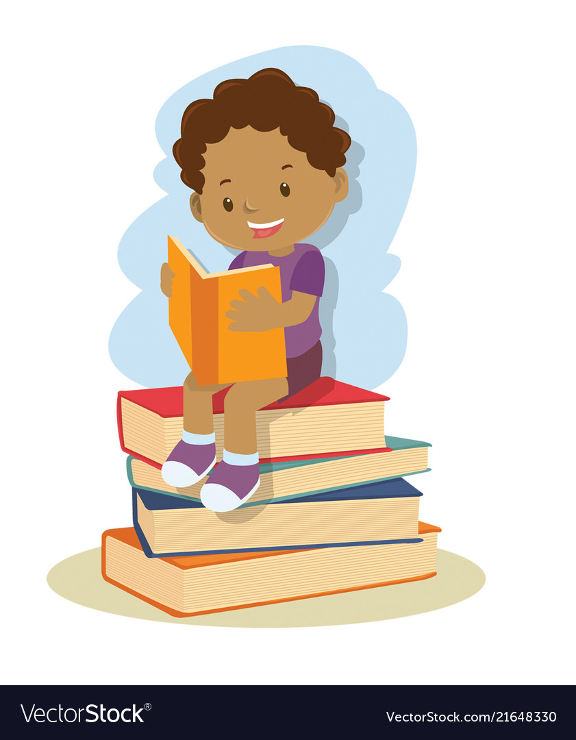 Clipart african american boy vector free Small african american boy learning and reading vector free