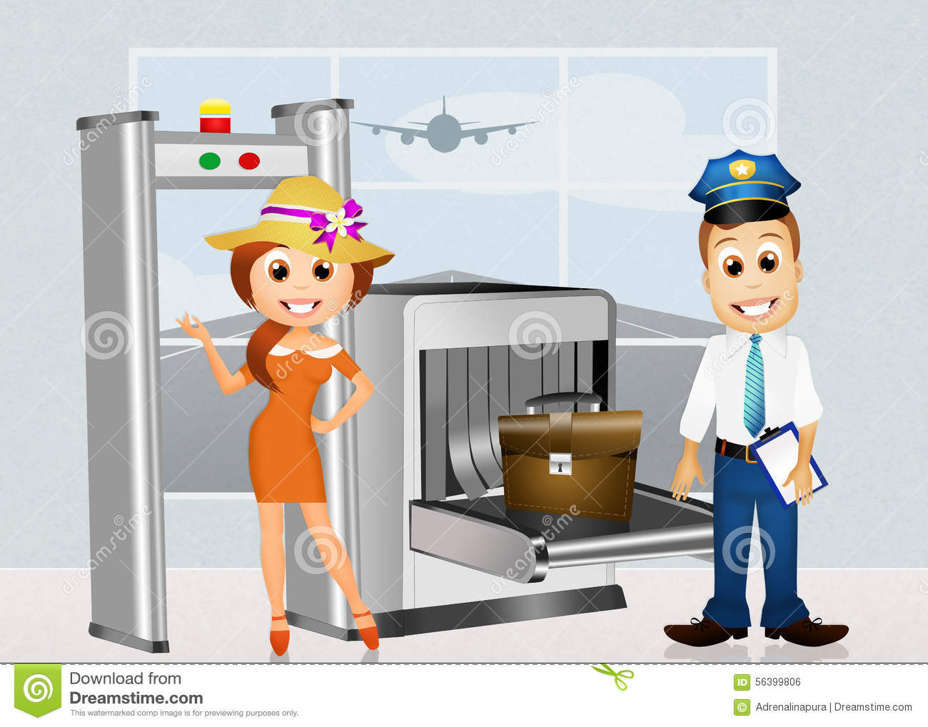 Stock illustration image. Clipart airport security