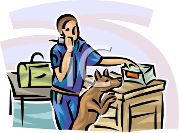 Clipart airport security jpg library library Airport Security Checking Luggage with a Dog - Royalty Free Clip ... jpg library library