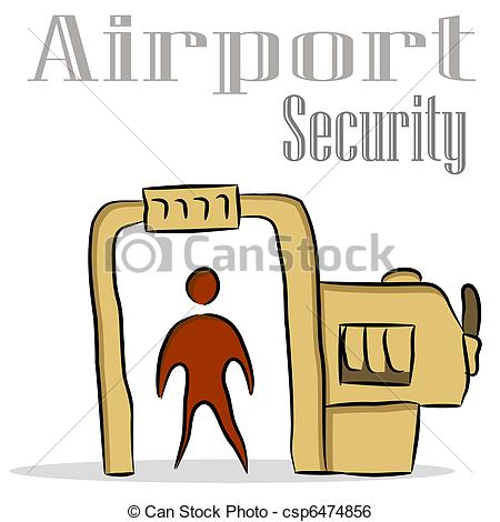 Illustrations and an image. Clipart airport security