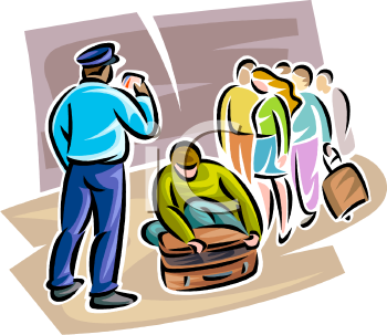 Clipart airport security png freeuse download Airport Security Guard Checking Passenger Bags - Royalty Free ... png freeuse download