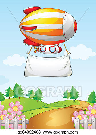 Clipart airship vector royalty free download Vector Illustration - A blimp with a banner. EPS Clipart gg64032488 ... vector royalty free download