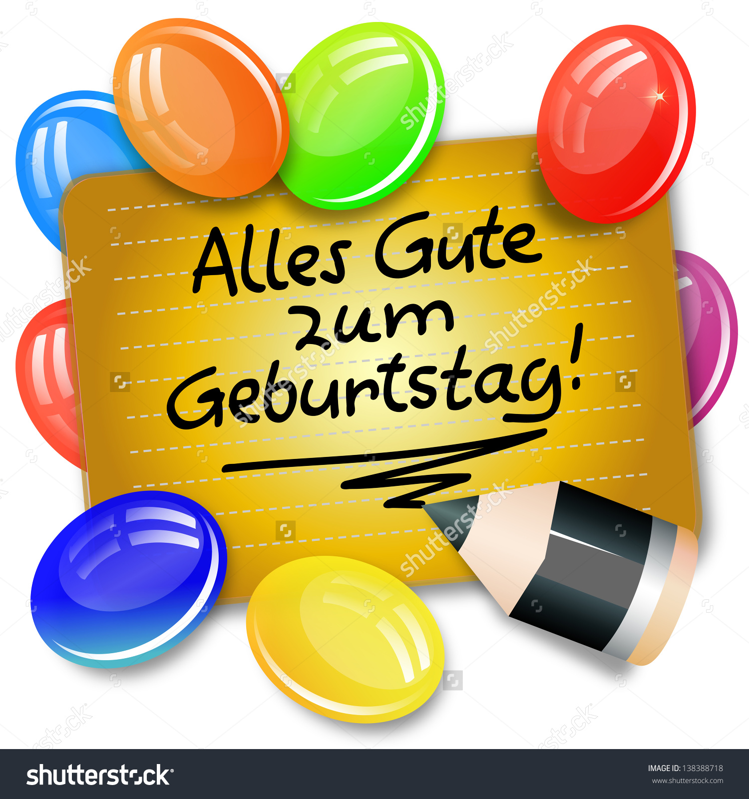 Clipart alles gute zum geburtstag clip black and white library Card Handwritten Note German Language Alles Stock Illustration ... clip black and white library