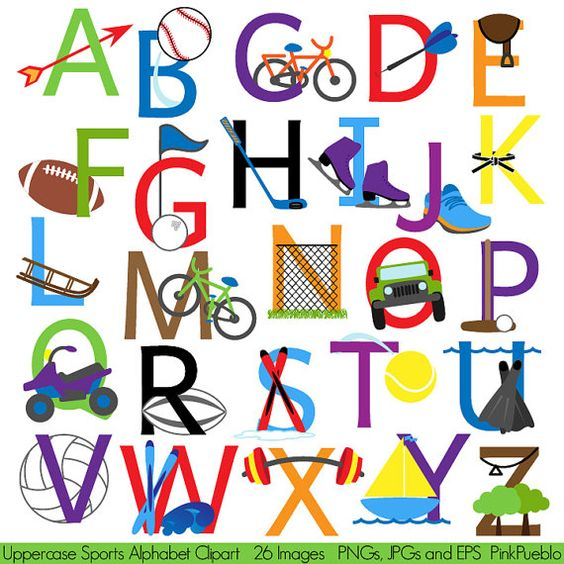 Clipart alphabet letter font banner freeuse library Sports Alphabet, Font with Sports Letters Clipart Clip Art ... banner freeuse library