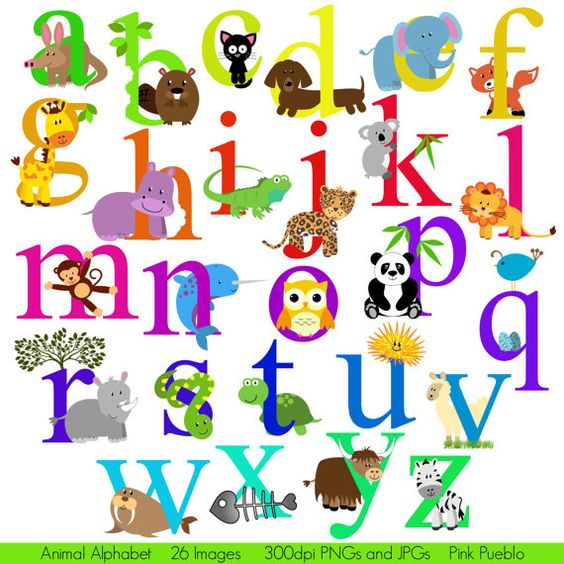 Clipart alphabet letter font vector stock Animal Alphabet, Font with Safari Jungle Zoo Animals, Lowercase ... vector stock
