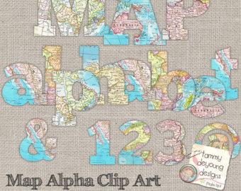 Clipart alphabet letter travel black and white download Alphabet map   Etsy black and white download