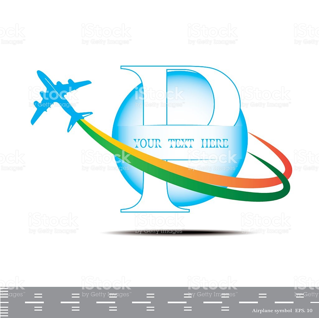 Airplane symbol background with. Clipart alphabet letter travel