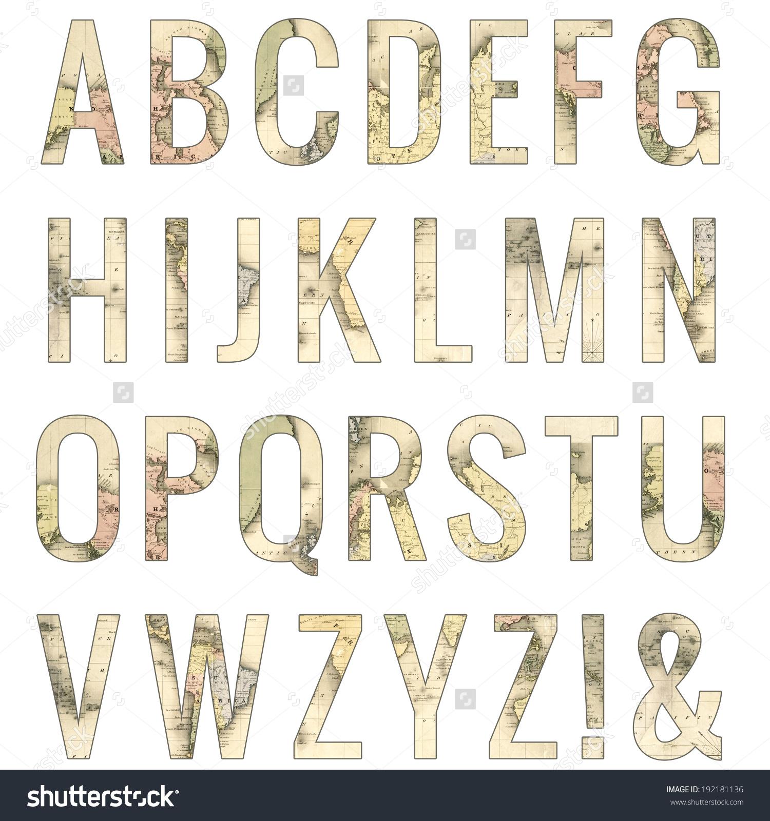 Clipart alphabet letter travel png freeuse stock Vintage Map Alphabet Vintage Map Letters Stock Illustration ... png freeuse stock