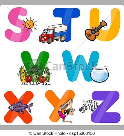 Clipart alphabet letters for kids. Vector of education cartoon