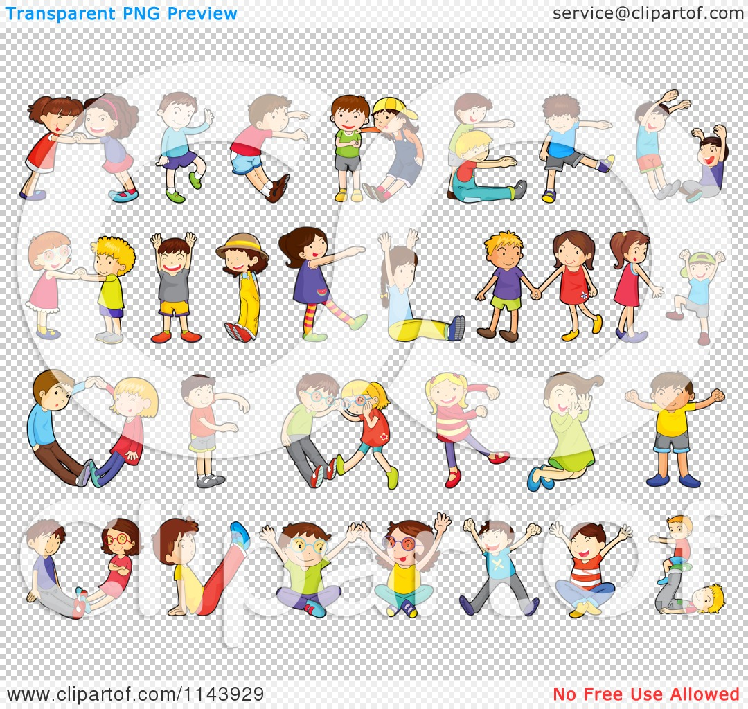 Cartoon of children forming. Clipart alphabet letters for kids