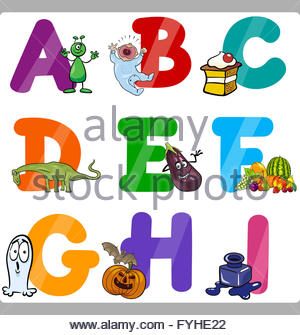 Clipart alphabet letters for kids clip art black and white Education Cartoon Alphabet Letters For Kids Stock Photo, Royalty ... clip art black and white