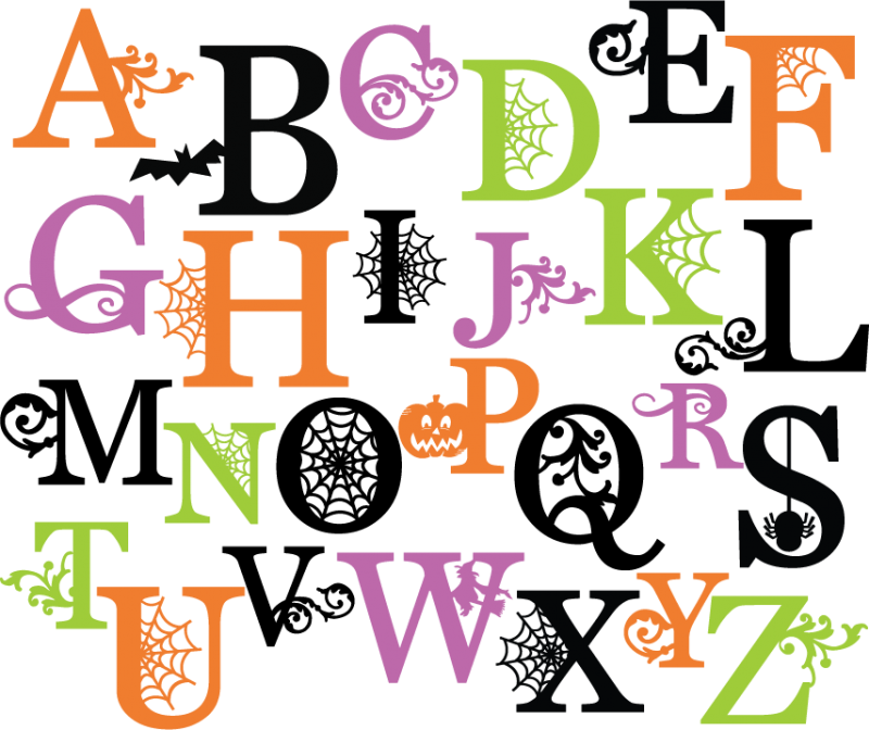 Pumpkin with monogram clipart vector royalty free library Halloween Alphabet Letters - wrha.us vector royalty free library