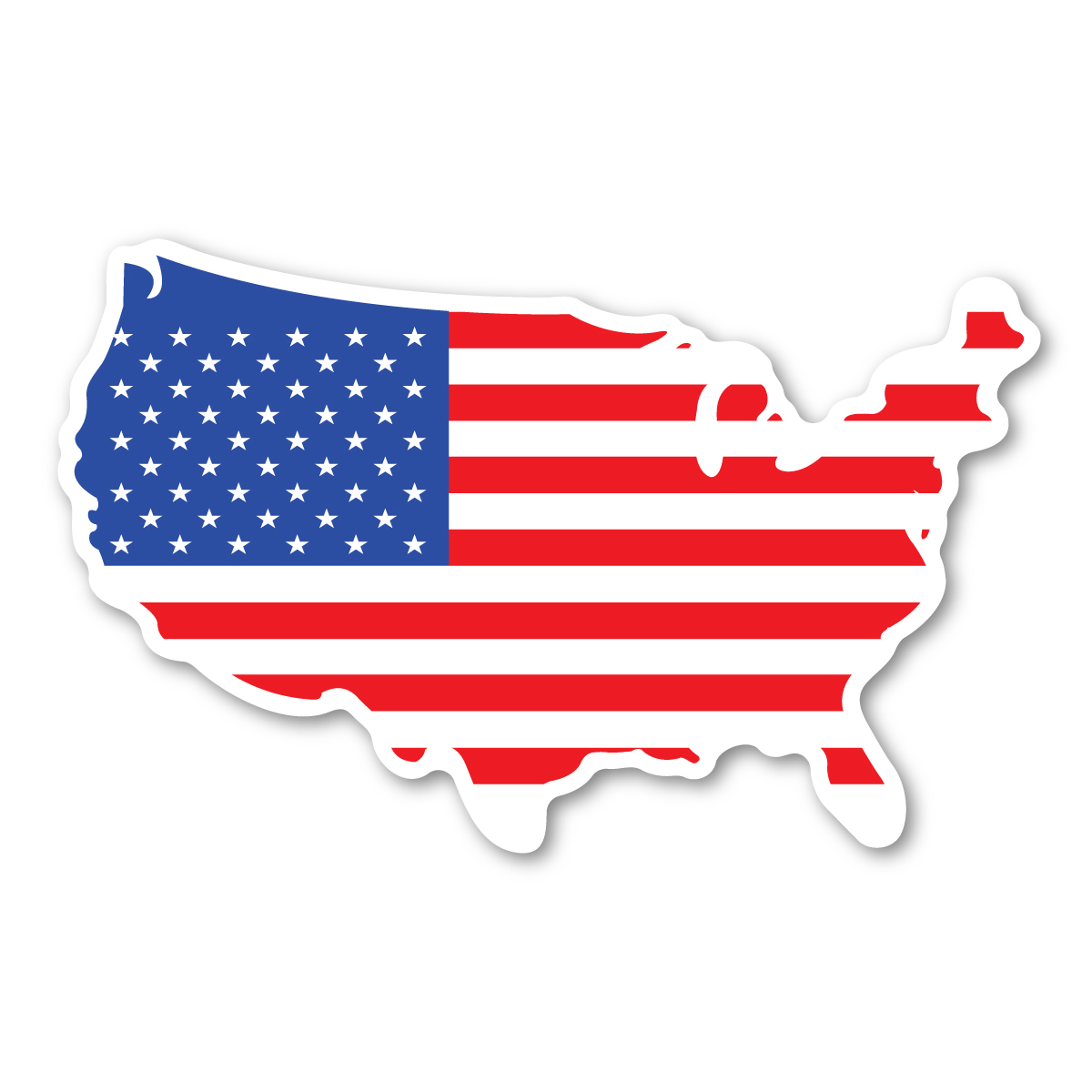 Clipart american flag in the shape of usa transparent download United States Shaped American Flag Decal transparent download