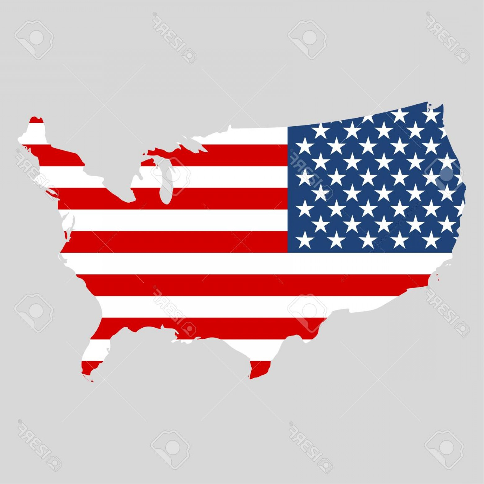 Clipart american flag in the shape of usa png download Photostock Vector Usa Flag Shape Of American Map | SOIDERGI png download