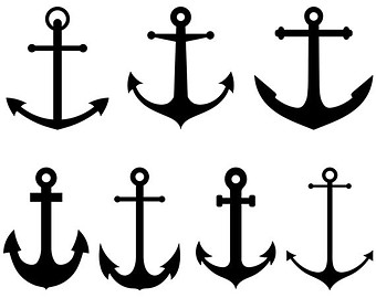 Clipart anchor silhouette jpeg image black and white download Anchor clip art | Etsy image black and white download