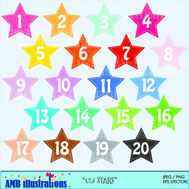 Clipart and jpeg difference picture library download Stars and Numbers clipart - Over 40 different colored stars and ... picture library download