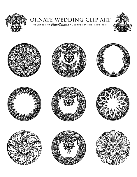 Clipart and printables banner royalty free Ornate Wedding Clip Art and Printables | Cathe Holden's Inspired Barn banner royalty free