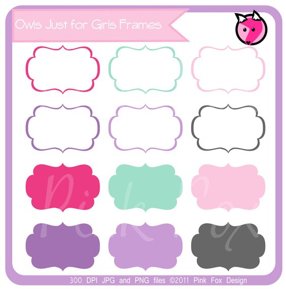 Clipart and printables clipart royalty free stock INSTANT DOWNLOAD - just for girls labels, tag clipart, printable ... clipart royalty free stock