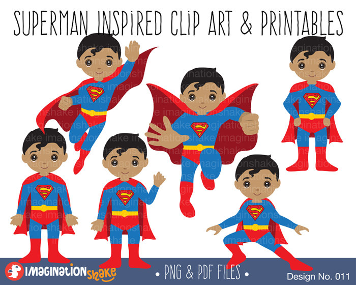 Clipart and printables royalty free download Black Superman Inspired Clip Art & Printables Set / Superhero ... royalty free download