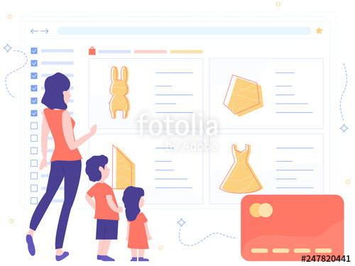 Clipart and sons online shopping clipart royalty free stock Mom, son and son are at the interface of the online store. Family ... clipart royalty free stock