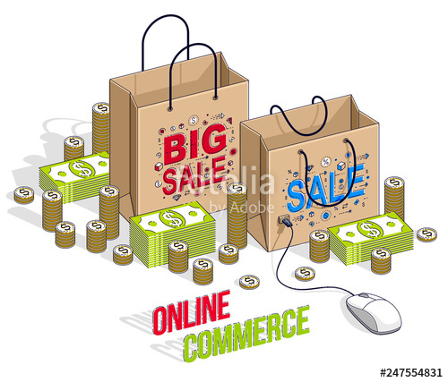 Clipart and sons online shopping vector freeuse Online Shopping concept, web store, internet sales, Shop bag with pc ... vector freeuse