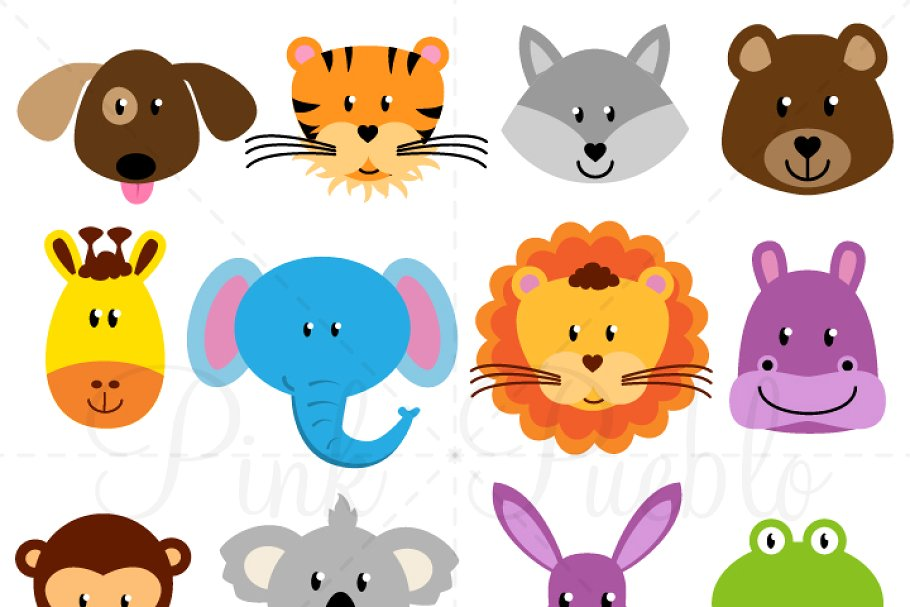 Clipart animal vector library Animal Faces Clipart and Vectors vector library