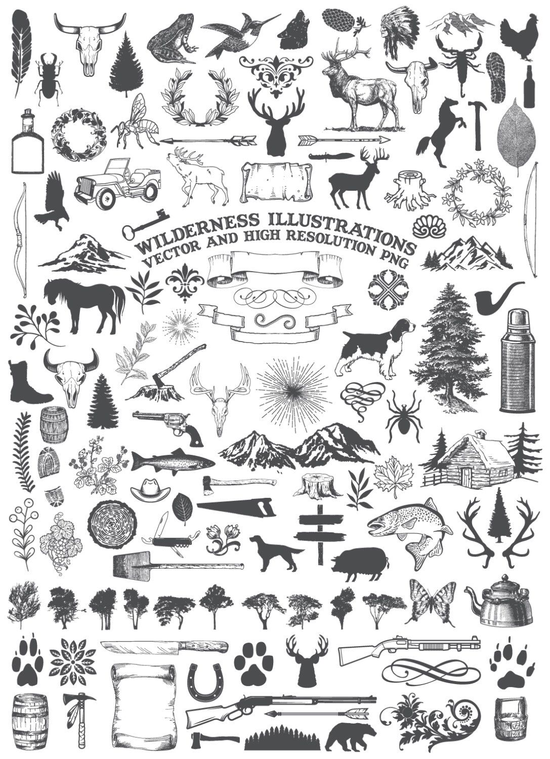 Clipart animal adventure image black and white library Camping Clipart, Animal Clipart - Nature Rustic Adventure Wilderness ... image black and white library