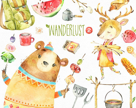 Clipart animal adventure black and white download Wanderlust 2. Picnic. Watercolor animals clipart, bear, food, travel ... black and white download
