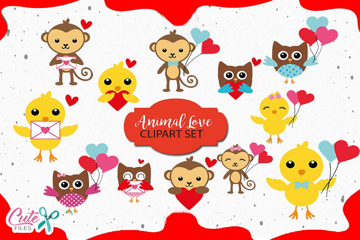 Clipart animal hearts svg library library Animal Love Clipart set, animals with hearts and letter svg library library