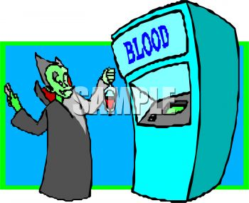 Clipart animations of bank of people clip transparent Cartoon of a Vampire Getting Blood at a Blood Bank - Royalty Free ... clip transparent