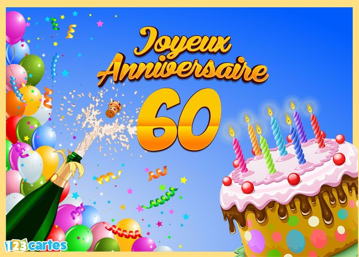 Clipart anniversaire 60 ans vector royalty free stock Carte joyeux anniversaire 60 ans à envoyer sur facebook ou à ... vector royalty free stock