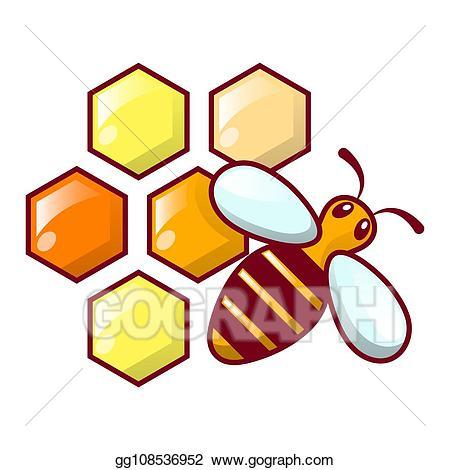 Clipart apiculteur jpg black and white Dessin - Abeille, rayon miel, icône, dessin animé, style ... jpg black and white