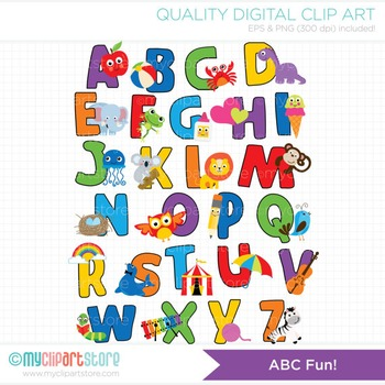 Clipart aplphabet image black and white library Alphabet Clipart - ABC Fun! (Rainbow colors) image black and white library