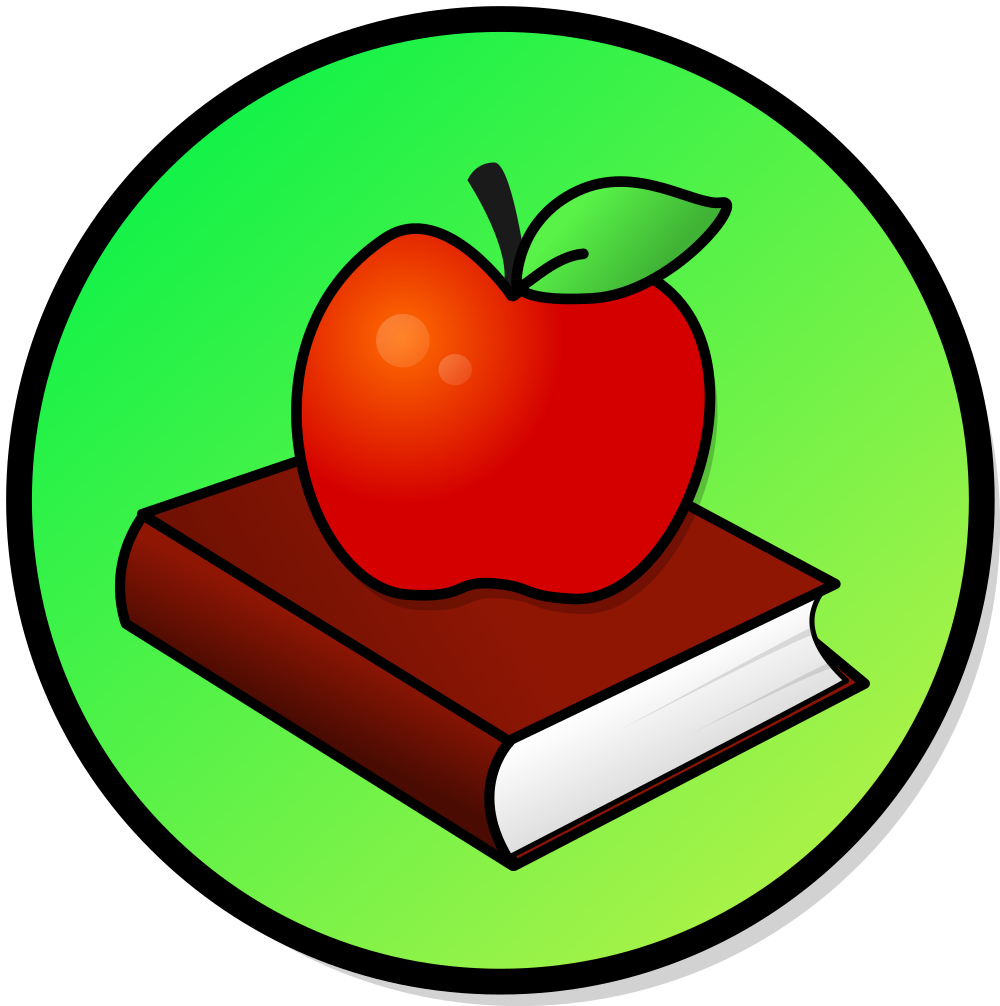 Clipart apple and books image library download File:Apple-book.svg - Wikimedia Commons image library download