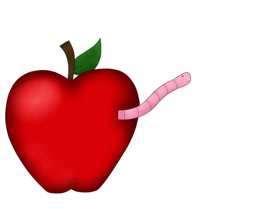Clipart apple and worm clip black and white stock Commission 9: Worm in an apple by AnnoyedGirl on DeviantArt clip black and white stock