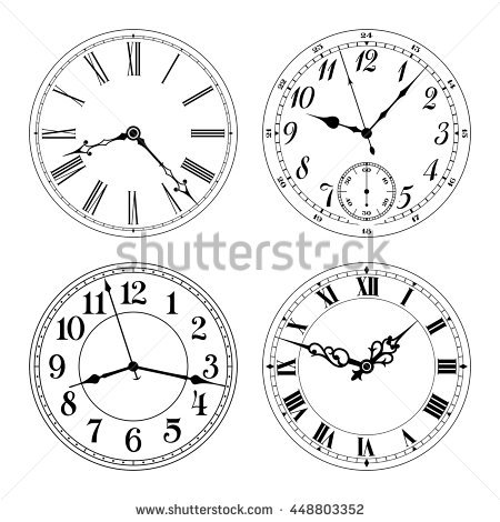 Clipart arabic clock graphic royalty free Vector Clock Faces Black White Arabic Stock Vector 449344450 ... graphic royalty free