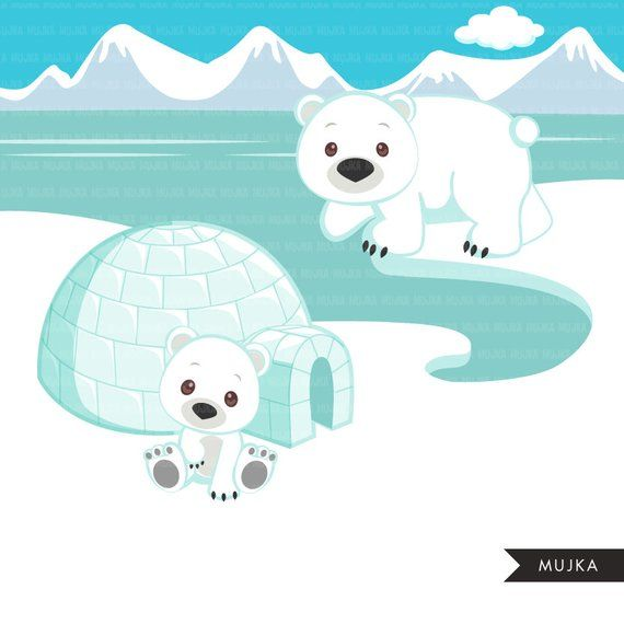 Winter igloos clipart jpg freeuse download Arctic animals clipart. Cute winter animals, igloo, whale, walrus ... jpg freeuse download