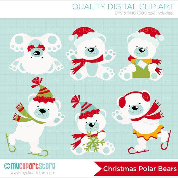 Clipart arcticsnowflakes clip royalty free stock Christmas Polar Bears Clip Art / Digital Clipart - Instant Download ... clip royalty free stock