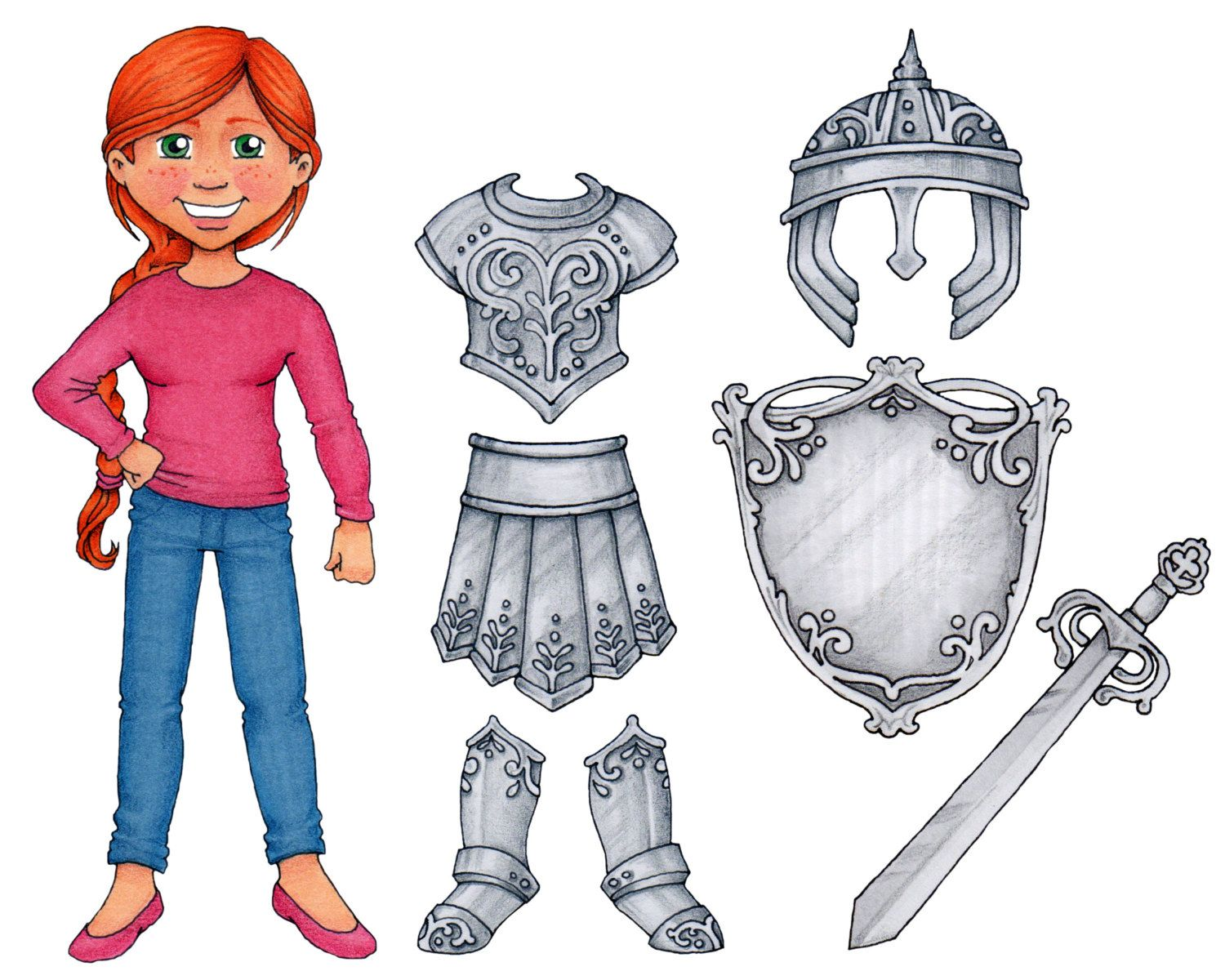 Clipart armor of god clipart royalty free Armor of God - Clip Art & Paper Doll set | DOLLS- PAPER #11 | Armor ... clipart royalty free