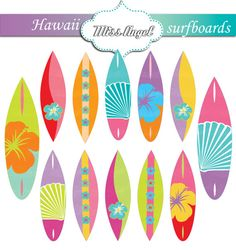 Clipart arrow surfboard svg library Surfboards CLIPART SET 12 Scrapbooking Digital by MissAngelClipArt ... svg library