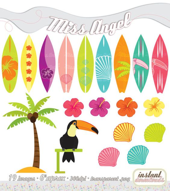 Clipart arrow surfboard clip art black and white stock CLIPART SET Summer, Printable Surfboards, Palmtree, Toucan, Shells ... clip art black and white stock