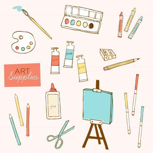 Clipart artist supplies clipart freeuse download Art Supplies CLIP ART Set | draw PEN INK PENCIL PAINT. in 2019 | Art ... clipart freeuse download