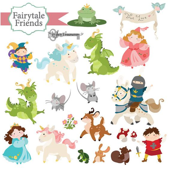 Clipart artwork svg royalty free library Instant Download - Fairy Tale Friends - digital clipart- printable ... svg royalty free library
