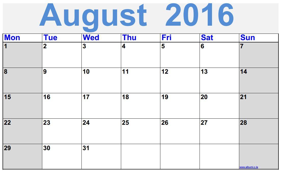 Clipart august 2016 calendar jpg black and white stock August 2016 Calendar Printable - free   2016 Blank Calendar ... jpg black and white stock