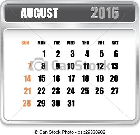 Clipart august 2016 calendar clip art free Vector Clipart of Monthly calendar for August 2016 on metallic ... clip art free