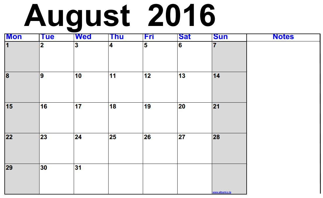 Clipart august 2016 calendar picture free download August 2016 Calendar Printable - free | 2016 Blank Calendar ... picture free download